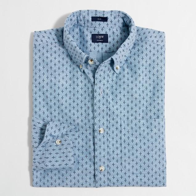 Slim printed chambray shirt