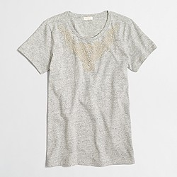 Factory beaded neck collector T-shirt