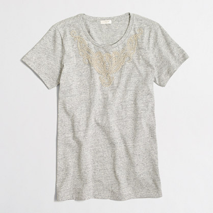 Beaded neck collector T-shirt