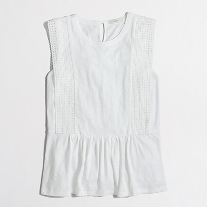 Sleeveless eyelet peplum top