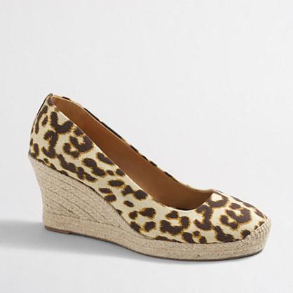 Leopard espadrille wedges