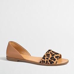 Calf hair peep-toe d'Orsay flats