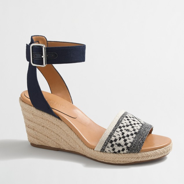 Strappy woven espadrille wedges