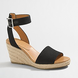 Factory strappy canvas espadrille wedges