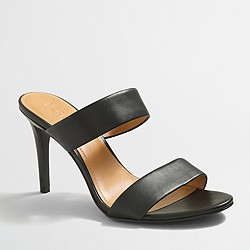 Factory leather heeled strappy slides