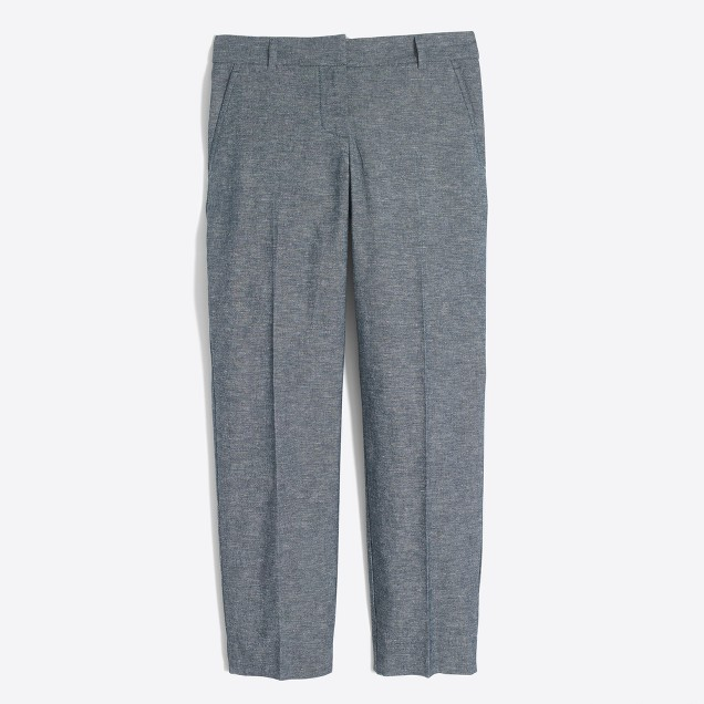 Cotton-linen chambray skimmer pant