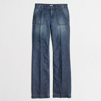 Wide-leg denim trouser