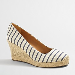 Factory striped espadrille wedges