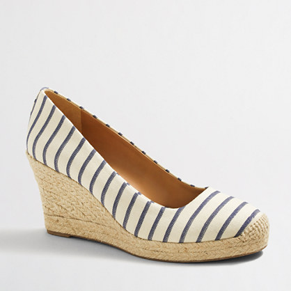 Striped espadrille wedges