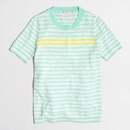 Striped short-sleeve sweater