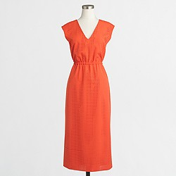 Factory perforated drapey crepe dress