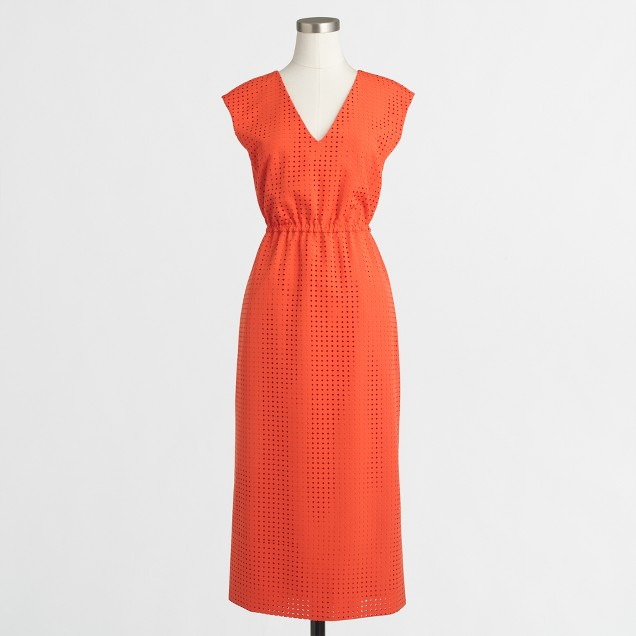 Petite perforated drapey crepe dress