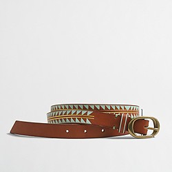 Factory geo leather belt