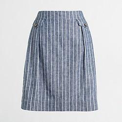 Factory linen-cotton pocket skirt
