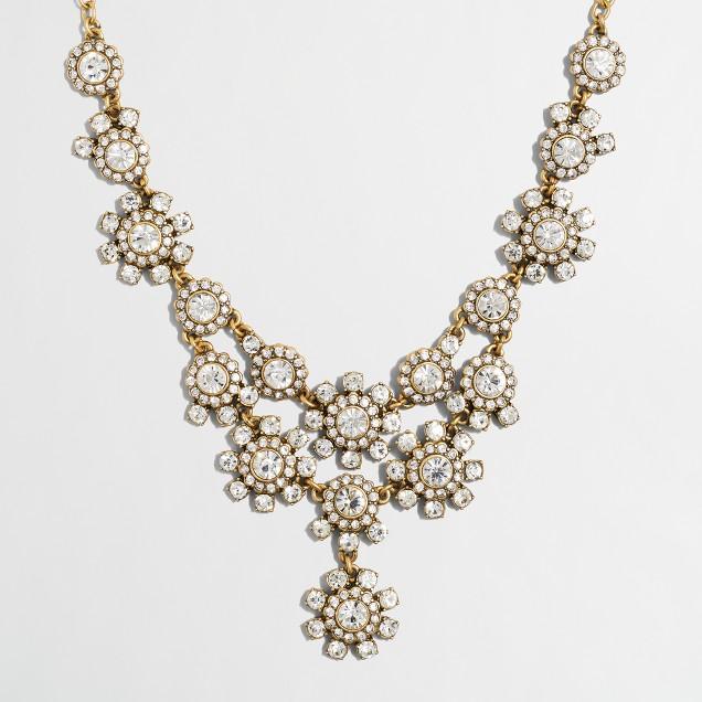 Crystal bouquet bib necklace