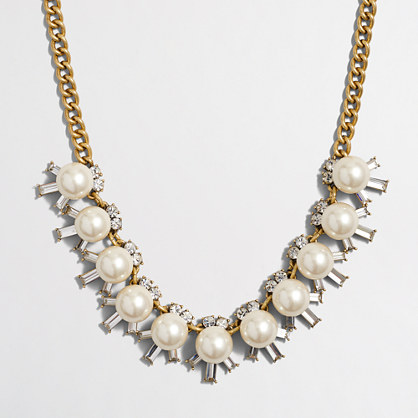 Pearl and crystal beams necklace