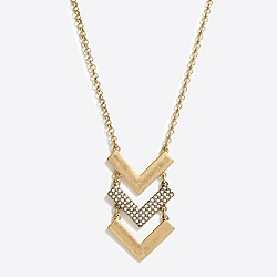 Factory chevron crystal pendant necklace