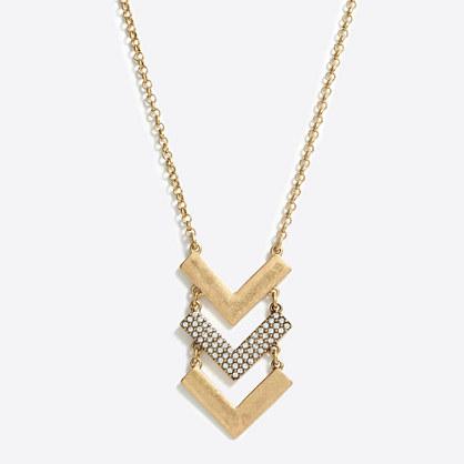 Chevron crystal pendant necklace