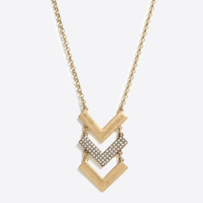 Chevron crystal pendant necklace
