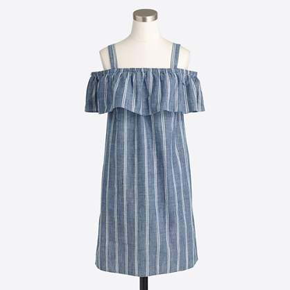 Striped chambray ruffle-neck dress