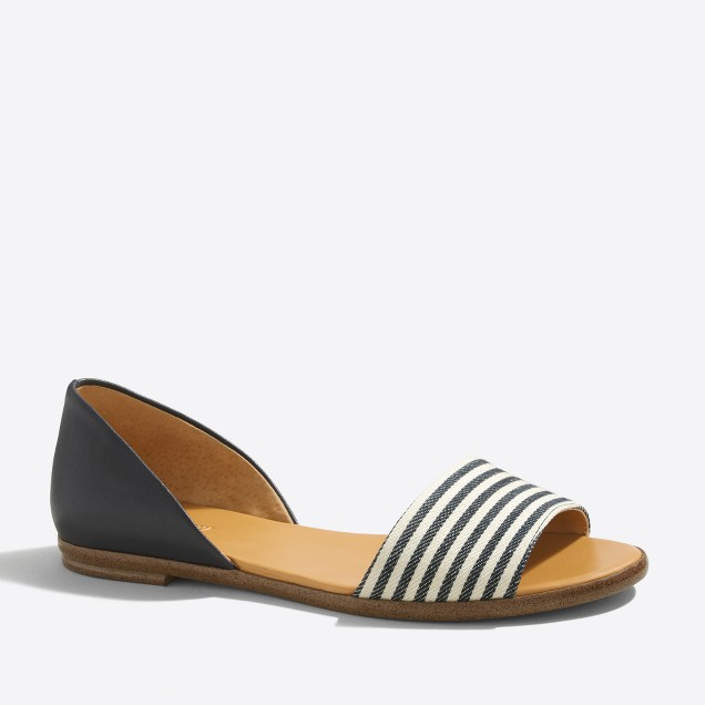 Morgan striped peep-toe flats