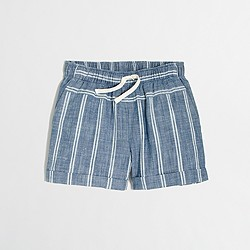 Factory girls' striped pull-on short