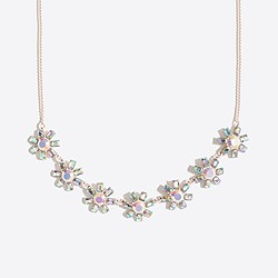 Girls' jeweled flower statement necklace