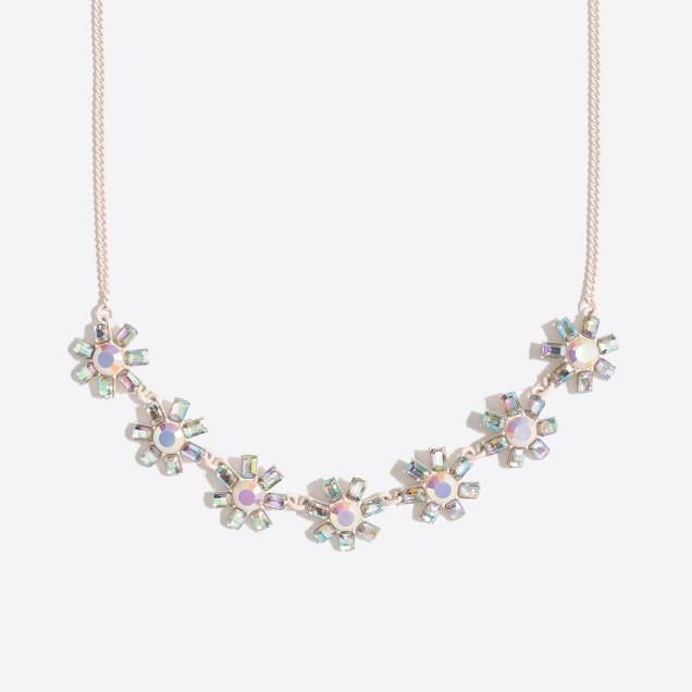 Girls' jeweled flower statement necklace