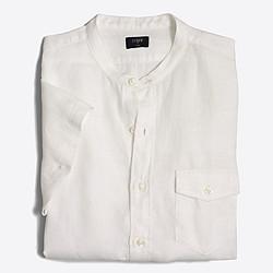 Factory slim short-sleeve linen band-collar shirt
