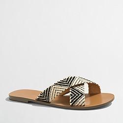 Factory raffia seaside sandals