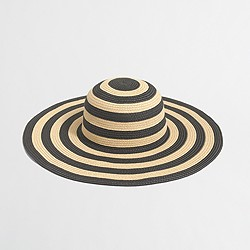 Factory striped-brim classic straw hat