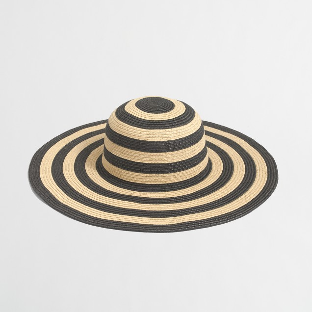 Striped-brim classic straw hat