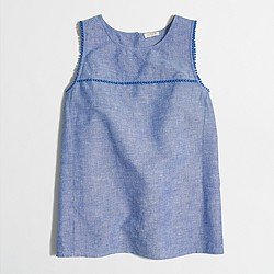 Factory crosshatch linen-cotton tank top