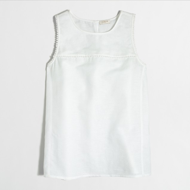Crosshatch linen-cotton tank top