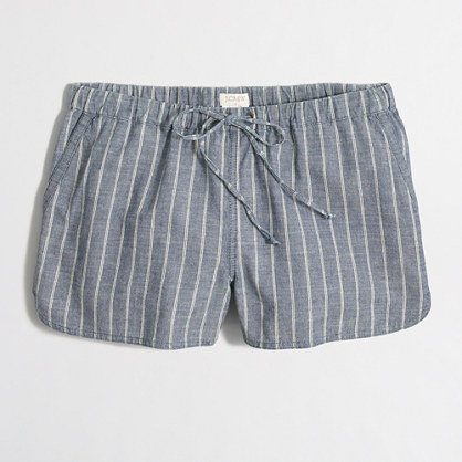 "3"" striped chambray pull-on short"