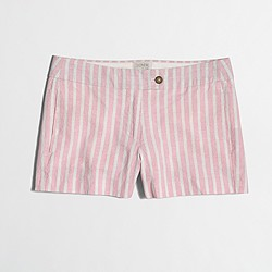 "Factory 3"" cotton-linen striped short"
