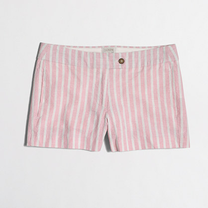 "3"" cotton-linen striped short"