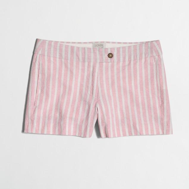 """3"""" cotton-linen striped short"""