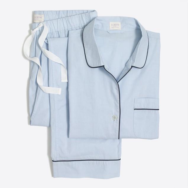 Long-sleeve end-on-end cotton pajama set