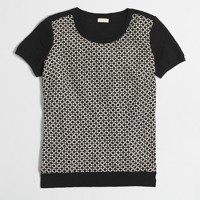 Woven-front sweater-T-shirt