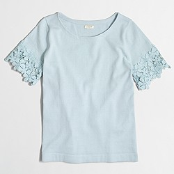 Factory lace-sleeve sweater
