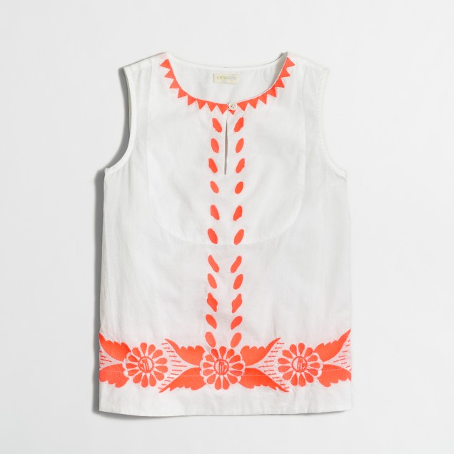 Girls' embroidered shell