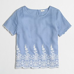Factory scalloped embroidered linen shirt