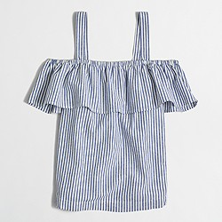 Factory striped flounce tank top