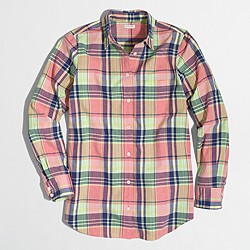 Petite summer plaid washed shirt