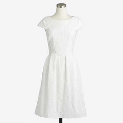 Petite short-sleeve eyelet dress