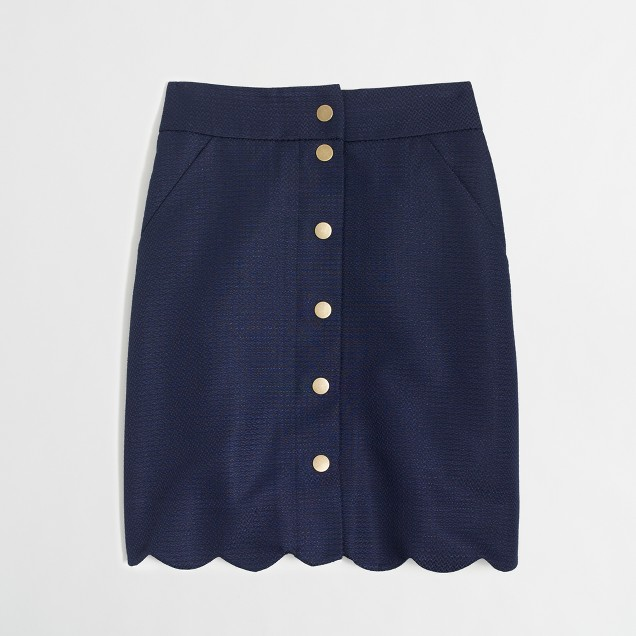 Button-front scallop skirt