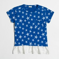 Girls' star ruffle-hem T-shirt