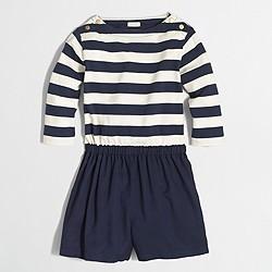Factory girls' sailor-striped romper