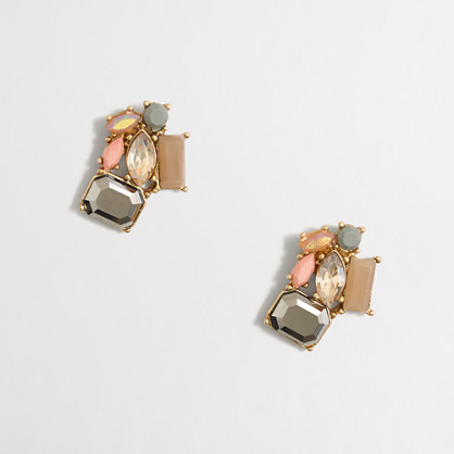 Crystal and stone clusters earrings